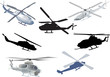 set of seven helicopters isolated on white