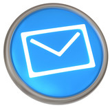 Blue button with mail icon 3d