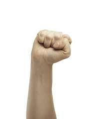 Male hand in fist isolated on white background.
