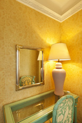 table chair lamp and mirror