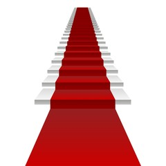 Vector concept 3D white stair and red carpet