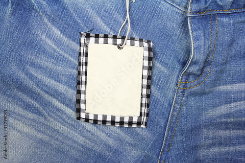 Blank Tag price on jean background