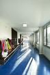 interior corridor blue