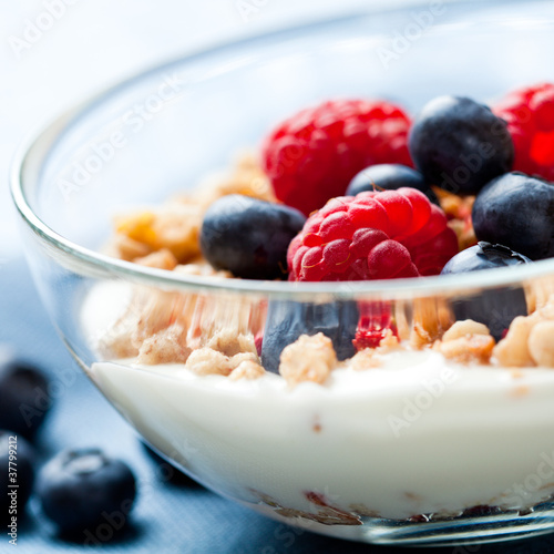 Muesli with fresh fruits and yogurt