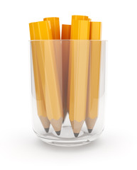 Many yellow pencils in the glass cup. 3D isolated on white backg