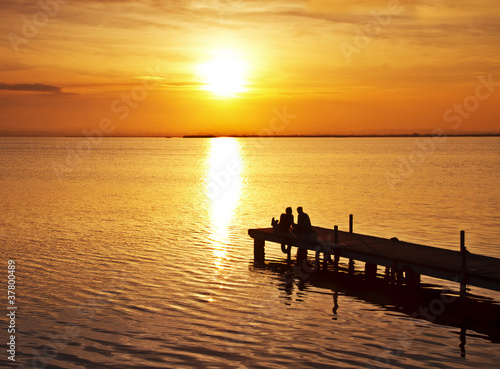 Deurstickers Pier amor en el lago