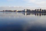 View of Neva river and microdistrict Ribatskoe, St.Petersburg poster