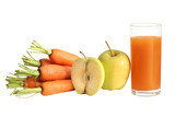 fresh carrot and apple juice (isolated)