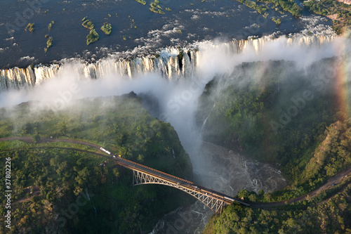 Tuinposter Luchtfoto Cascate vittoria Zambia