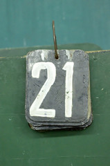 number tags, twenty one