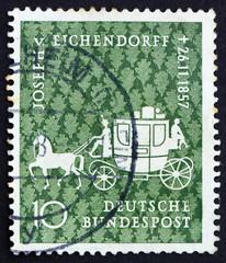 Postage stamp Germany 1957 Coach, Joseph V. Eichendorff