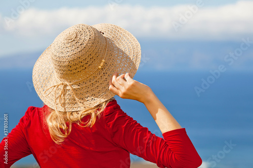 lady in red with hat 2