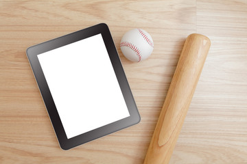 Baseball and tablet pc (blank touch panel monitor )