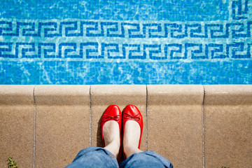 red shoes on pool