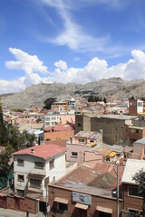 Bolivian slums under blue sky
