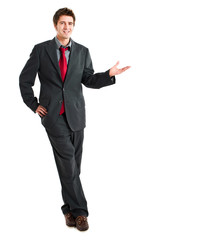 Businessman pointing empty copy space