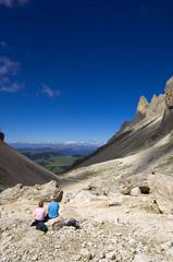 Langkofelkar mit Blick auf die Seiser Alm - Dolomiten - Alpen