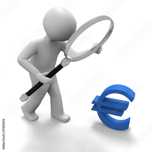 Männchen untersucht Eurozeichen mit Lupe