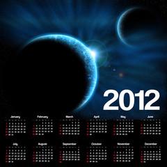 2012 calendar with space scene