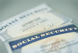 closeup of US Social Security cards poster