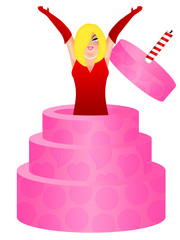 Sexy Blonde Woman Jumping Out of Birthday Cake Illustration