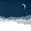 Night sky with clouds (isolated copyspace), stars and crescent m