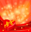 Valentine background with red gift box and ribbons. Vector.