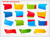 Big set of colorful origami paper banners. Vector
