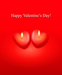 Valentine background with two heart candles