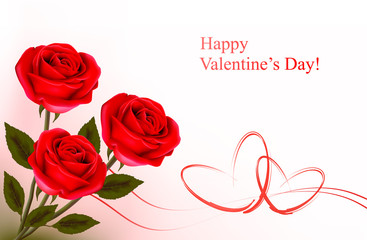 Valentine background. Red roses and gift red bow