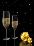 party night background with discoball, wine glass poster