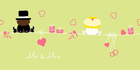 "Card Sitting Groom & Bride Symbols ""Mr. & Mrs."" Green"