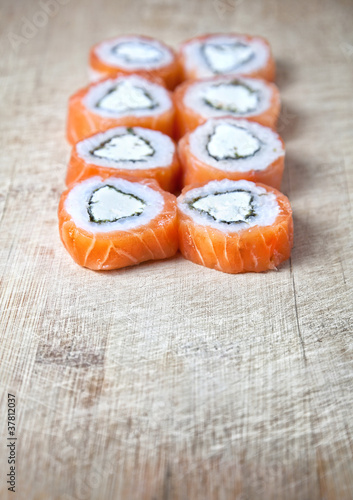Sushi on the desk