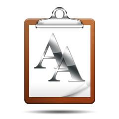 Icono clipboard 3D con simbolo fuente de texto