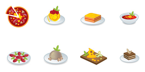 Italian cuisine icon set
