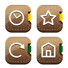 Set of four brown folder icons for browser