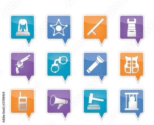law, order, police and crime icons - vector icon set