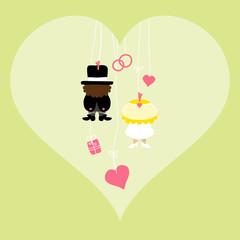 Hanging Groom & Bride In Heart Symbols Green