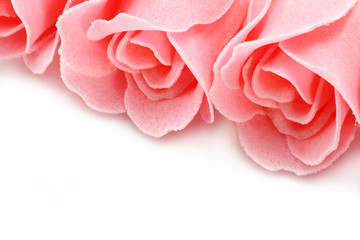Pink soap roses close-up on a white background