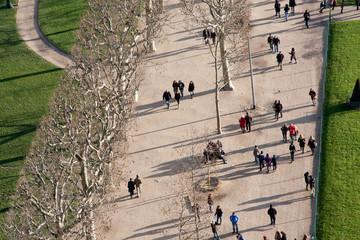 Vue aérienne d'un jardin public