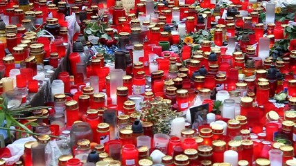 Detail of candles lighted in honor of deceased  Vaclav Havel