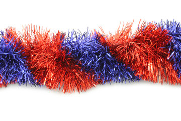 Red and blue tinsel line on white background