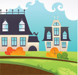 my little town, cartoon vector illustration