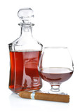 cognac in goblet with cigar isolated on white background poster