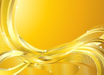 Onde oro Astratto Sfondo-Golden Wave Background-Vector