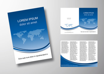 Editable brochure, world background # Vector