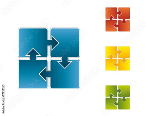 4 Pfeile Schema für Präsentation