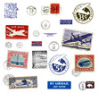 Verschiedene Briefmarken und Poststempel aus USA, teilweise alt