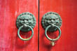 Chinese red gate doors with lion door knob