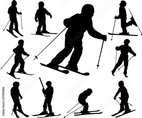 children skiing - vector